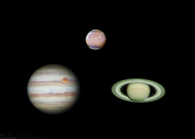 Image of Jupiter, Saturn and Mars courtesy of Paul Stewart @ Flickr
