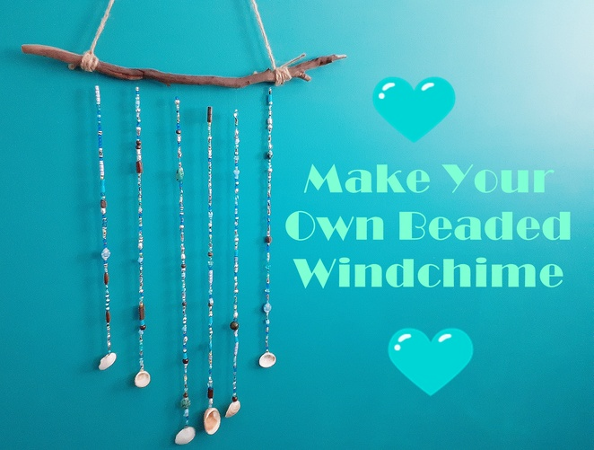 make your own beaded windchime, windchime, DIY, craft, make, cheap, beads, shells, beachy, how to, craft projects, kids, children, adults, shells, stick, natural,
