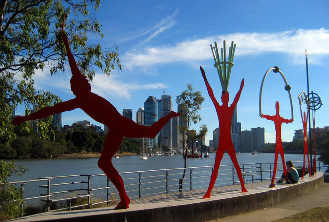 Artwork beside the river at the Kangaroo Point Cliffs