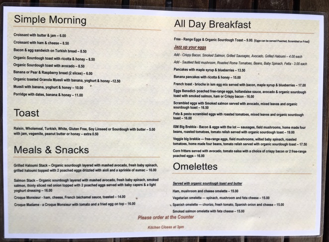 Menu at Cafe ism, Newtown, brunch, coffee, smashed avocado, poached egg, bacon
