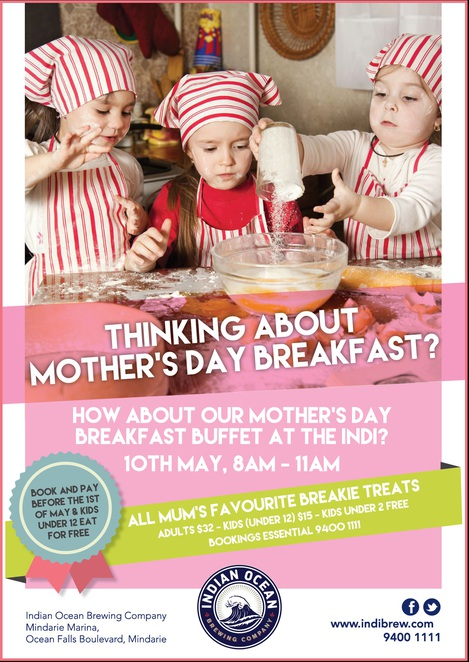 Mothers Day breakfast at the Indian Ocean Brewing Company