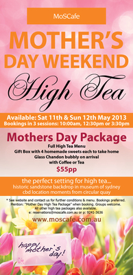 mothers day high tea mos cafe poster