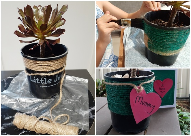 mothers day ideas, cheap, budget, affordbale, kids, children, craft, pots plants, jute rope, plants,