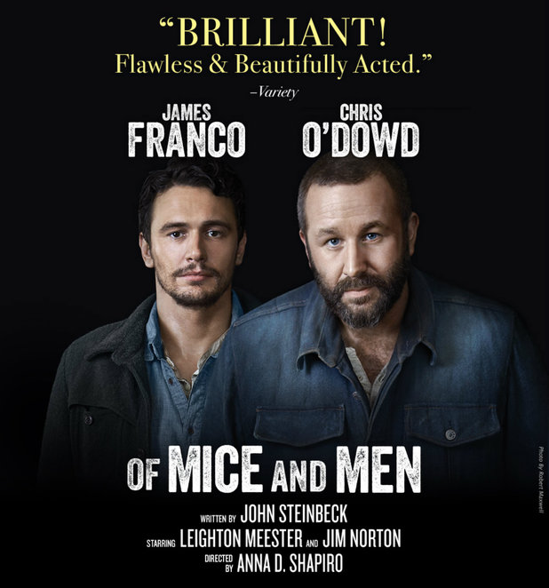 of mice and men, play, theatre, movie, film review, movie review, james franco, chris o'dowd, john steinbeck