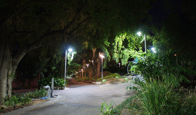 Roma Street Parklands is well lit at night with regular security patrols