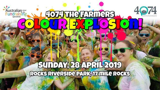 4074 the farmers colour explosion, rocks riverside park, 17 mile rocks, fundraiser, australian fundraising, help the farmers, charleville drought relief 2019, community event, fun things to do, colourful event, sausage sizzle, rotary club of jindalee, colour station, colour bombed, lewah bowtique, candle and wax melts, bath bombs, bath magic, salt scrubs, fun, entertainment, activities, luxury p aints, sq painting services, campervan threads, fiona's garden, ace fun foods, storage king jindalee, colour explosion markets