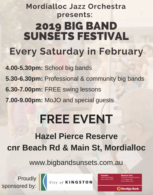 big band sunsets festival 2019, community event, fun things to do, mordialloc jazz orchestra, music lovers event, kingston arts, hazel pierce reserve, mordialloc, music festival, music event, swing groups, big bands, school bands, entertainment, free swing lessons, mojo, free music event, city of kingston, bendigo bank