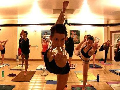 Bikram Yoga is an energetic kind of yoga. This image is from Wikimedia Commons (by HealthZone).