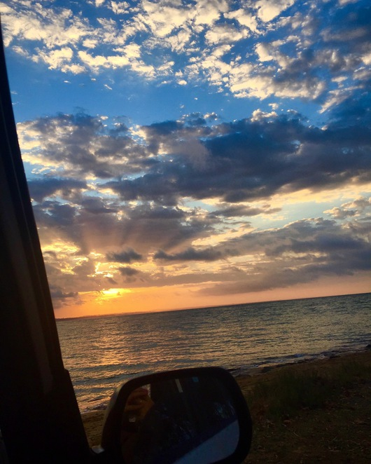 Car window, sunset, Point vernon, Gatakers Bay,
