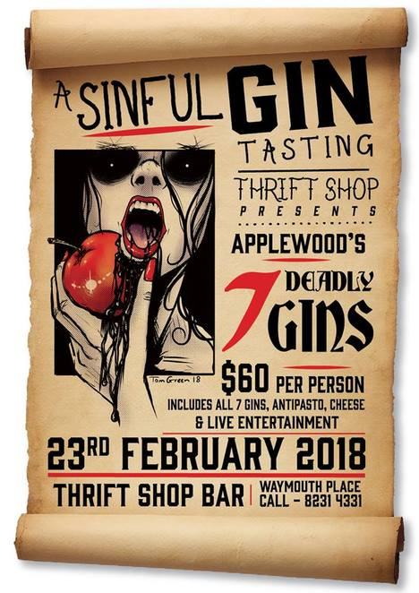 gin, applewood distillery, seven deadly gins, pride, lust, envy, sloth, wrath, greed, gluttony, thrift shop bar, waymouth street, Adelaide, monsieur swing