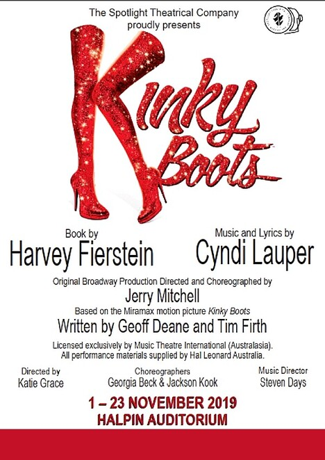 Kinky Boots, Spotlight Theatre, musical theatre, musical, Harvey Fierstein, Cindy Lauper, transvestite, drag queen, gold coast entertainment, Katie Grace, Steven Days, Georgia Beck, Jackson Kook, Abu Kebe, Clay English, Zoe Richards