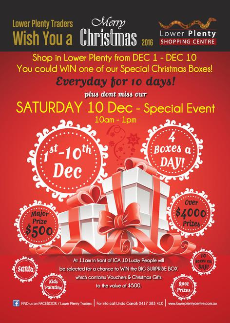 lower plenty traders, christmas event, community event, family fun day, christmas shopping, lucky prize giveaway, shopping centre, santa clause, face painting, on the spot prizes, vouchers, fun things to do