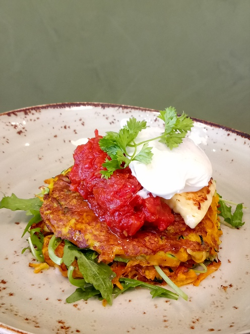 Pumpkin and zucchini fritters, breakfast, lunch, cafe, eat local, foodie
