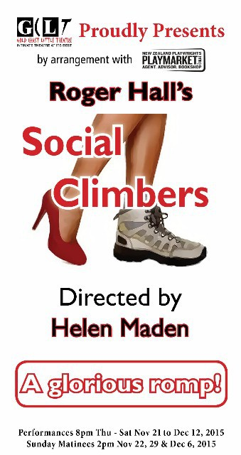 Social Climbers, Roger Hall, Gold Coast Little Theatre, hiking, séance, vodka, birthday, ghost, murder, counselling, friendship