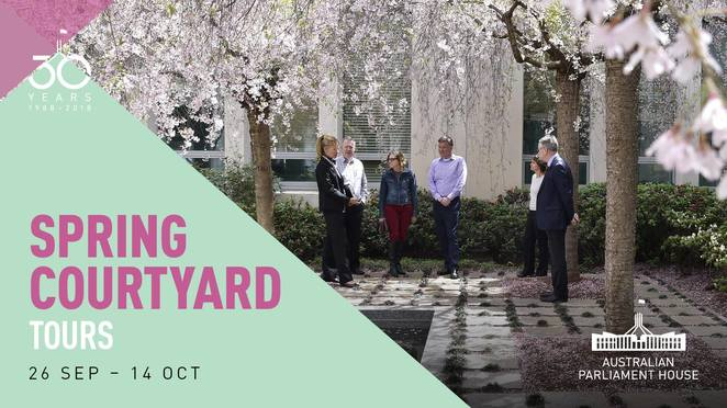 spring courtyard tours, canberra, ACT, spring events, 2018, whats on, parliament house, things to do, tours, garden tours, open gardens, spring events, australia, capital hill,