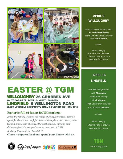 willouggby markets, lets activate, north shore markets, easter markets