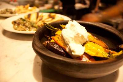 Baby carrots with goat's cheese