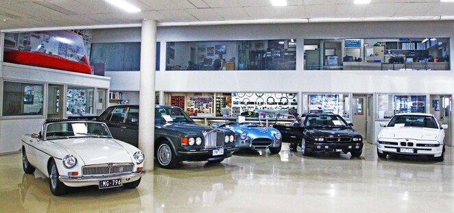 Car showroom.