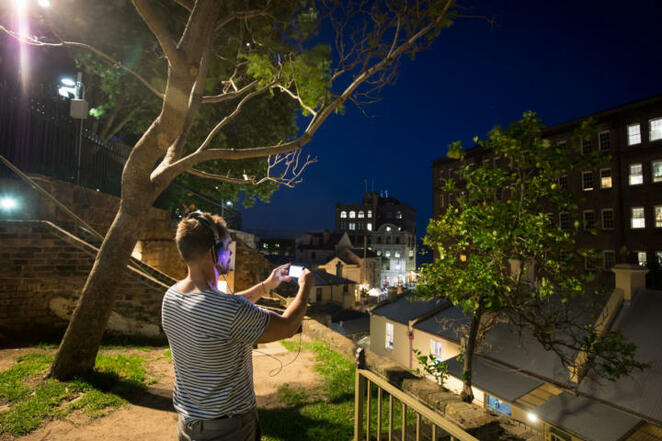 Cityof Forking Paths Sydney The Rocks audio visual tour phone and tablet Sydney Biennale Legacy