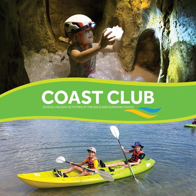 Coast Club Sunshine Coast, Easter school holidays, adventures, safe, challenging, families welcome, canoeing, caving, giant swing, body boarding, archery, surfing, daredevils, stand up paddle boarding, vertical climb, kayaking, Rock Face