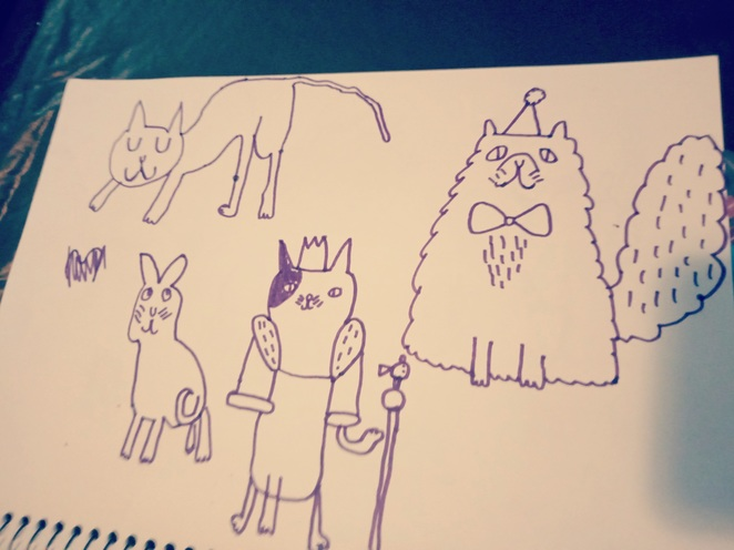 doodled cats, cats, drawing cats, drawings of cats, how to draw cats