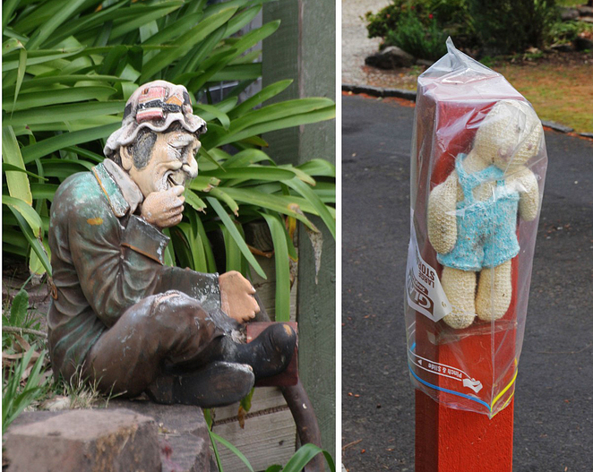 garden figure and toy bear.
