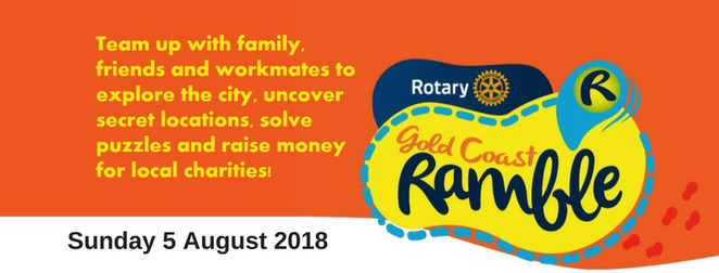 gold coast ramble for charity 2018, community event, fun things to do, outdoor event for all ages, all levels of fitness, main beach, surfers paradise boardwalk, fundraiser, gold coast ramble, a car rally on foot, costumed ramblers, prizes, crazy costumes, appell park, nerang river, bruce bishop carpark