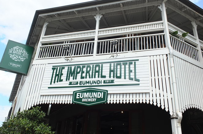 Imperial Hotel, Eumundi, Eumundi Brewery, Brewmundi, focal centrepiece, hinterland village, more than one hundred years old, colourful, creative decor, funky murals, eclectic array of colourful furnishings, Queensland hotel, boutique brews, sweeping verandahs, Eumundi Market days, most loved tourist destinations, Brewery Tasting Tours, The Beer Garden, five different function areas, where shall we meet?, a sure-fire winner