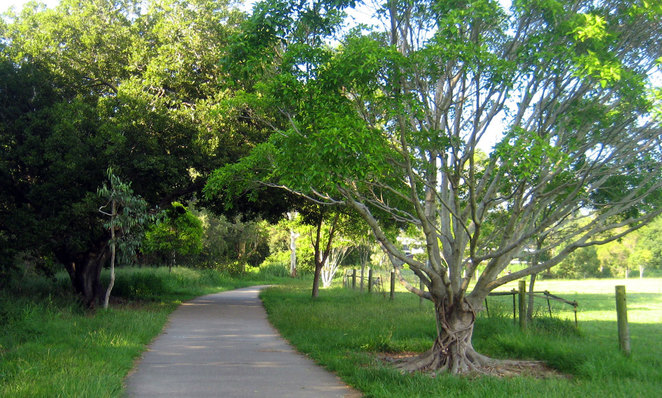 The Kedron Brook Bikeway goes past farms