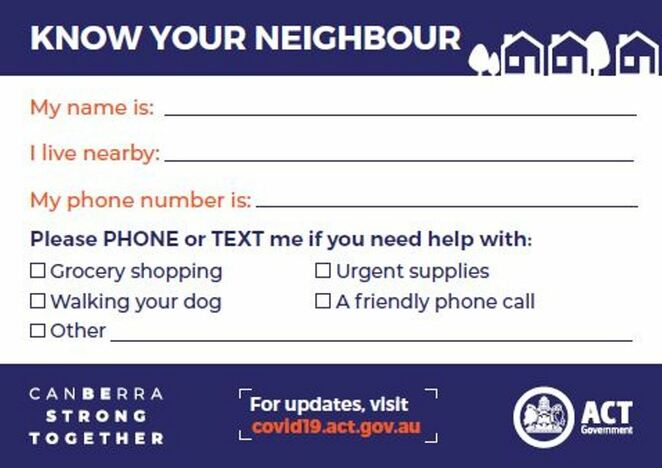 Know your neighbour Canberra