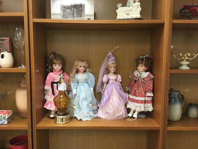 Scroungers Pre-Christmas Garage Sale 2017 dolls in cabinet