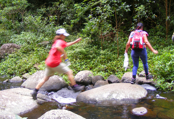 Leaping across one of the many creek crossings