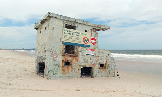 The furthest northern point you can drive to is marked by an old bunker on the beach