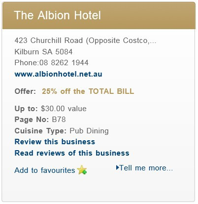 Albion Hotel, Entertainment Book Deal, Adelaide