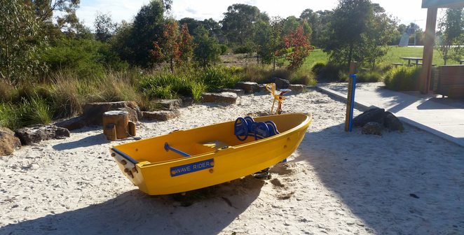 Armstrong Creek Park, Armstrong Creek Playground, play equipment, boat, bouncy boat,