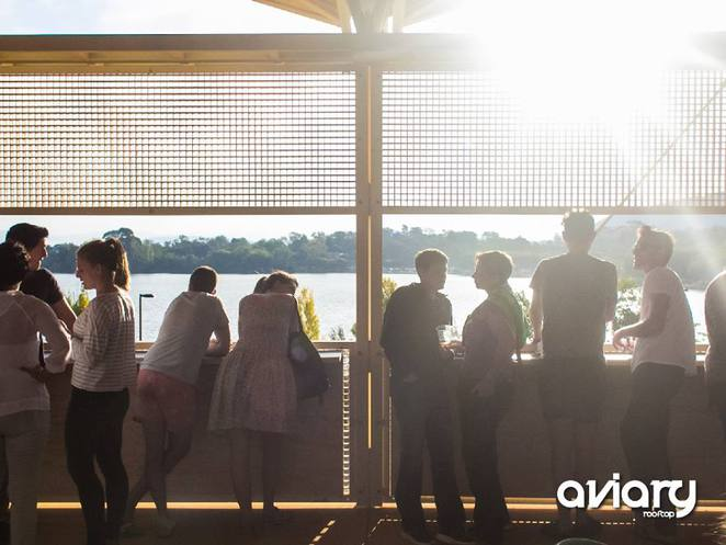 Aviary Rooftop bar, Westside Acton park, Canberra, Pop up village, Canberra, Views of Lake Burley Griffin, bars, nightlife,