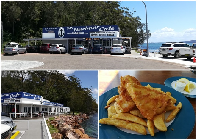 bay harbour cafe, nelson bay, port stephens, NSW, fish and chips, seafood, best fish and chips, seafood basket, fish, oysters, prawns, dinner, lunch,