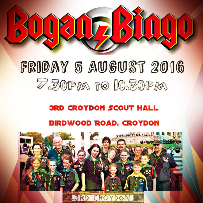 bogan bingo, 3rd croydon scout group, fundraiser, croydon scout hall, birdwood road, bingo games, family fun night, charity, scout hall