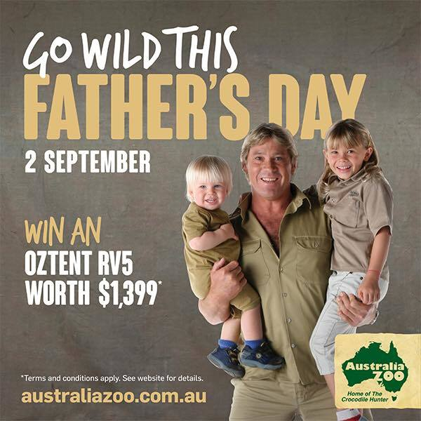 Father's Day, Australia Zoo, Go Wild, action, adventure, making memories, Australia Zoo Father's Day Challenge, win an Oztent RV5, obstacle course race, Bindi and Chandler feed the crocs, Wildlife Warrior Show, FREE Mrs Mac's pie for all dads, Hands-on Reptile Presentation, Koala Throwing Competition, Major Prize Draw, $400 experience voucher, Sunshine Coast Afloat,dads, granddads