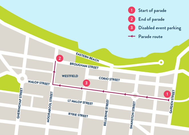 The route for the Geelong Gala Day Parade 2015