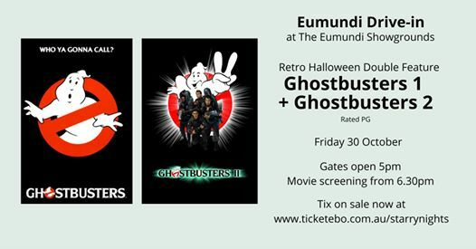 Halloween Double Features, Eumundi Drive In, warding off of ghosts, double-dipping, cult classic, spooky, creepy, boo-tiful, fang-tastic, offerings, Starry Nights Outdoor Movies, The Imperial Hotel in Eumundi, Ghostbusters 1, Ghostbusters 2, The Goonies, The Gremlins, scaredy-cat, ghoulish night, haunting pleasure, broom spot, black cats prowl, pumpkins gleam, pack your cauldron, witches brew, ghoulish takeaways, Eumundi coven, hocus-pocus cult classics, days of yore