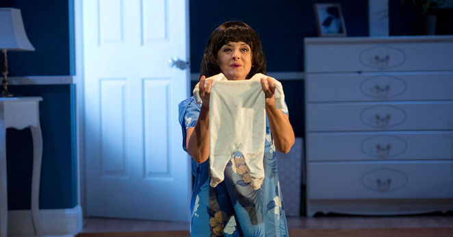 Jeanette Cronin as Lindy Chamberlain. Photo by Lisa Tomasetti for Merrigong Theatre Company