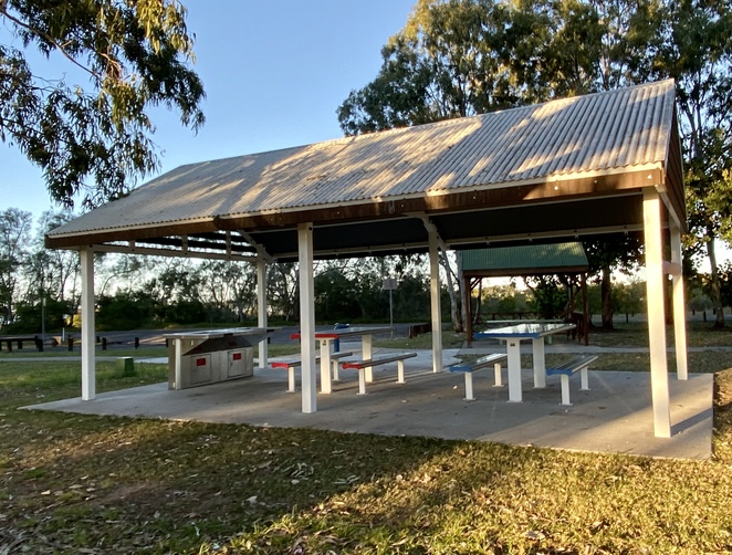 One of the picnic shelters with well-maintained electric BBQs