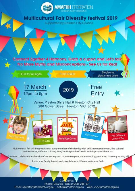 multicultural fair diversity festival 2019, community event, fun things to do, free event, single use plastic free event, food stalls, fun for all ages, multiculturism, harmony, preston, fun things to do, community event, cultural event, darebin city council, free cultural teas, henna tattoos, face painting, entertainment