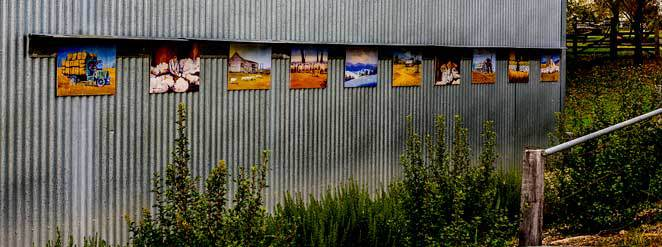 Outdoor art, Nundle Woollen Mill. Nundle.
