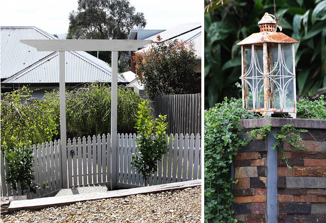 Picket fence and garden lamp.
