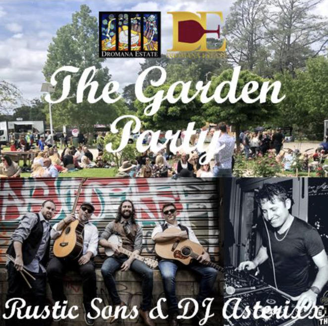 the garden party, dromana estate, labour day long weekend, dance, good music, wine, good music, food, beers, rustic sons, mornington peninsula, dj dysed, picnic, drinks package, vip area, beanbags, taco station, berty & co, entertainment
