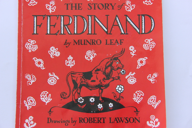 the story of ferdinand, munro leaf, robert lawson illustrator, books for babies and toddlers, books for infants and toddlers, recommended books for toddlers, list of books for toddlers, educational books for toddlers, good books for toddlers, top 10 books for toddlers