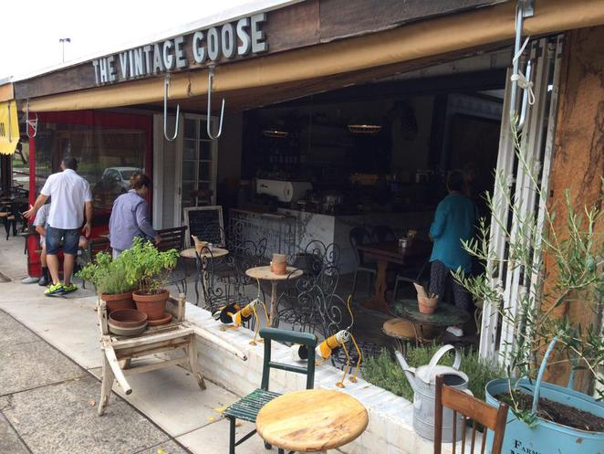 the vintage goose, campos, cafe, restaurant, kyle bay, wheelbarrow, pot plants, antiques, furniture, decor