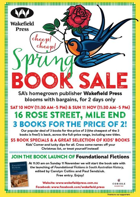 Wakefield Press Spring Book Sale, Wakefield Press, Book Sale, book, adelaide, south australia, sale, November, flyer